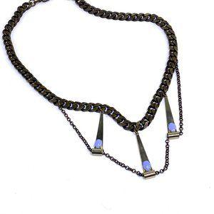 Free People boho Statement necklace Bib chain blue faux moonstone cabochon gems